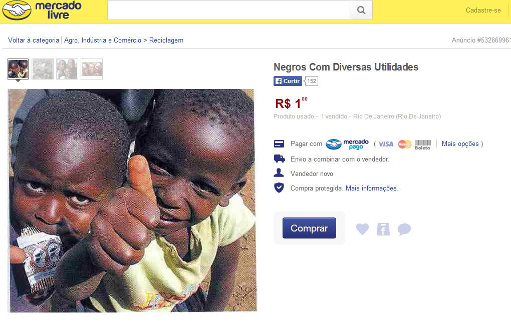Secretaria solicita ao MercadoLivre informações sobre anuncio de venda de negros