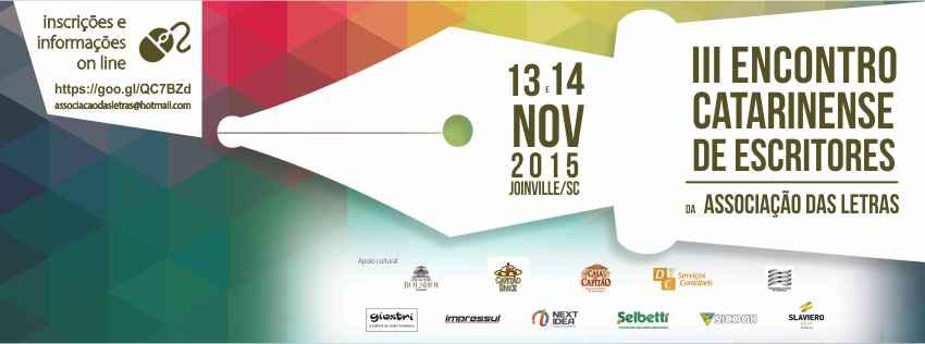 Joinville (SC) será palco para a literatura com o III Encontro Catarinense de Escritores