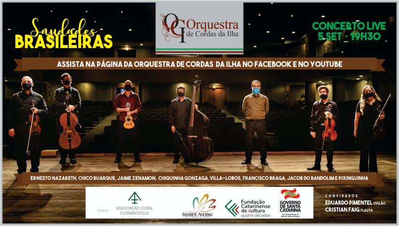 Cultura – Segundo Concerto Live Saudades Brasileiras neste sábado (5) às 19:30h com transmissão gratuita