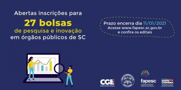 Fapesc abre inscrições para bolsas de pesquisa e inovação em órgãos públicos