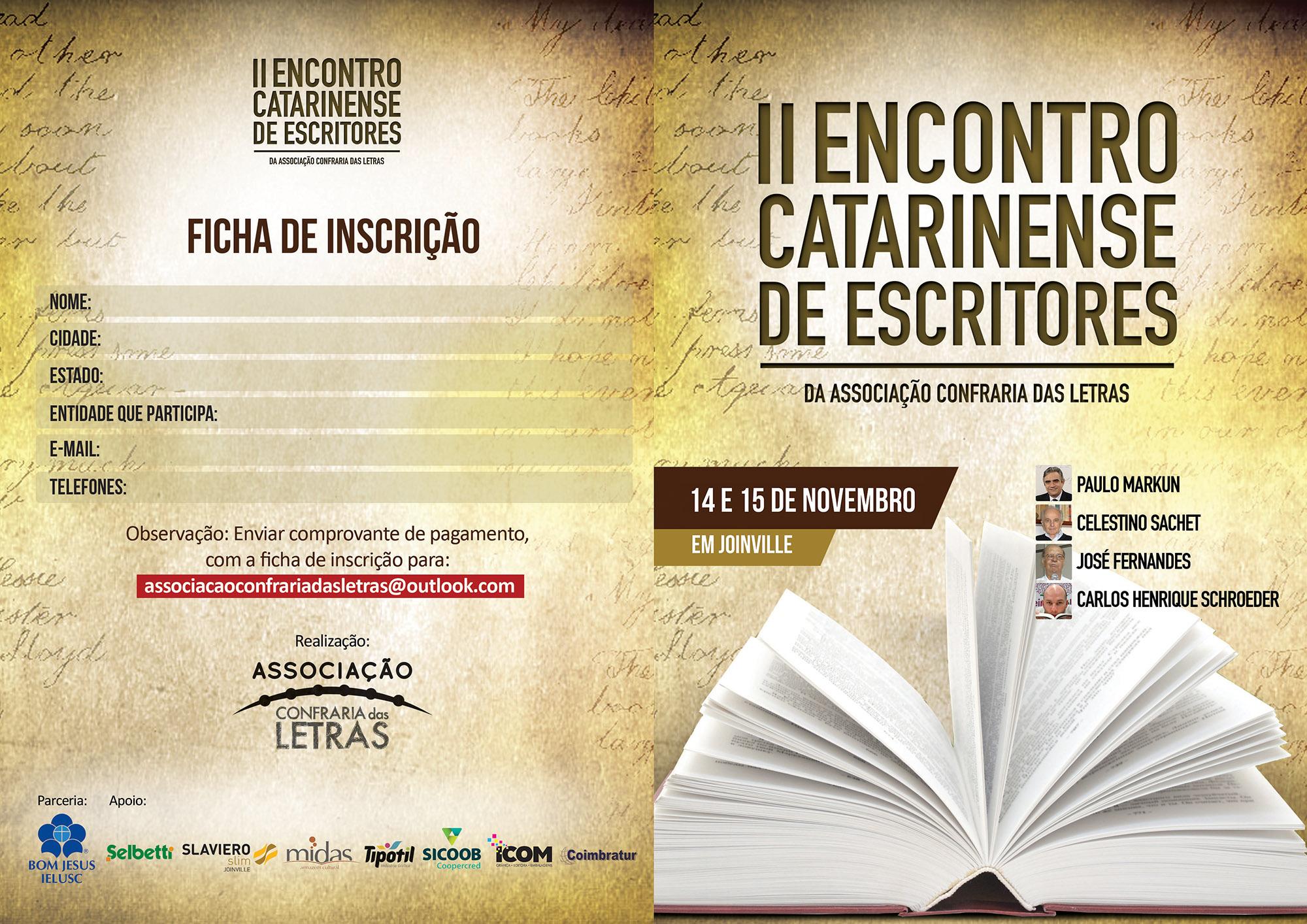 Literatura: Vem aí o II Encontro Catarinense de Escritores em novembro