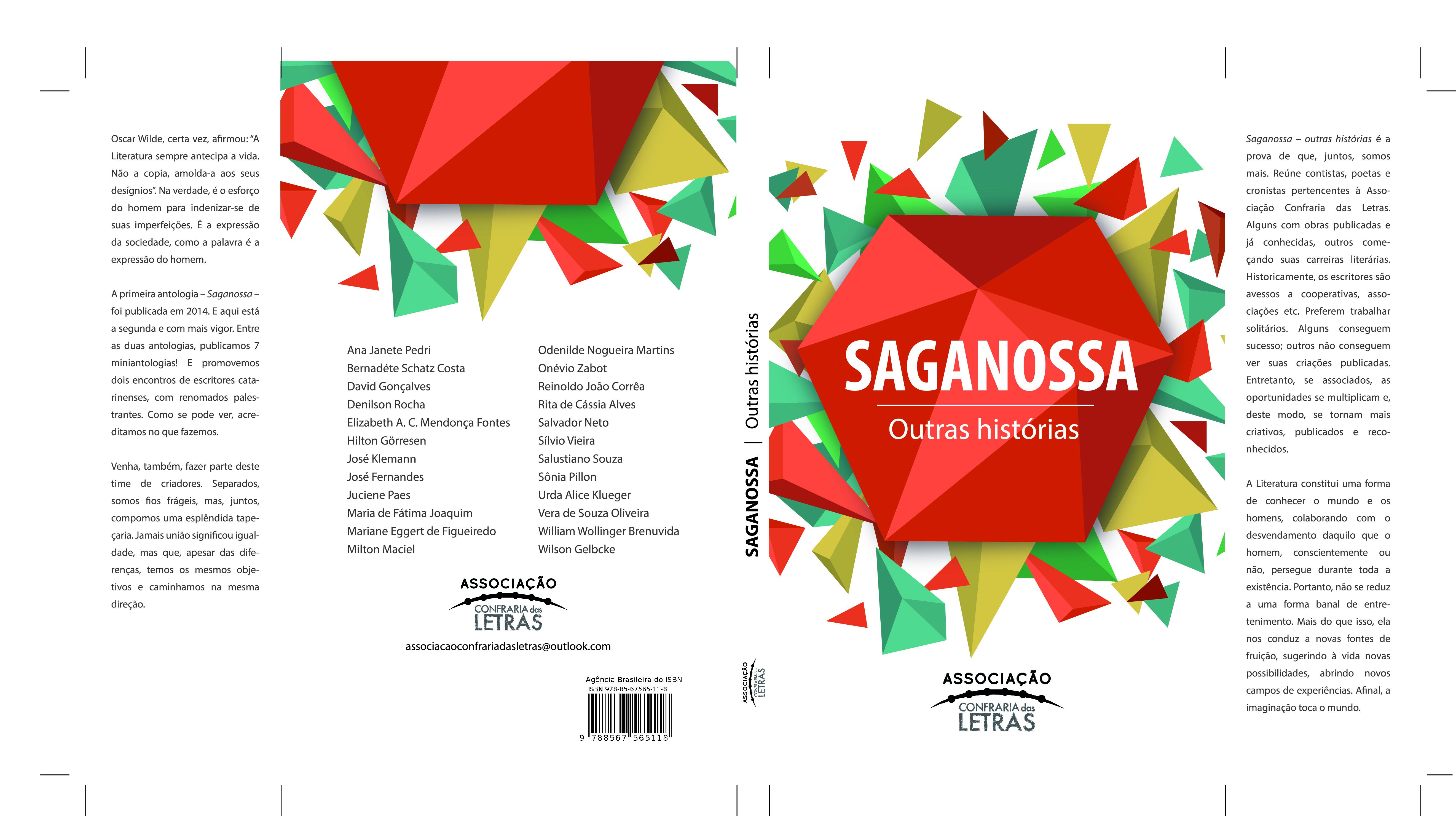 Livro Saganossa – Outras Histórias será lançado hoje (15) na Feira do Livro de Joinville (SC)