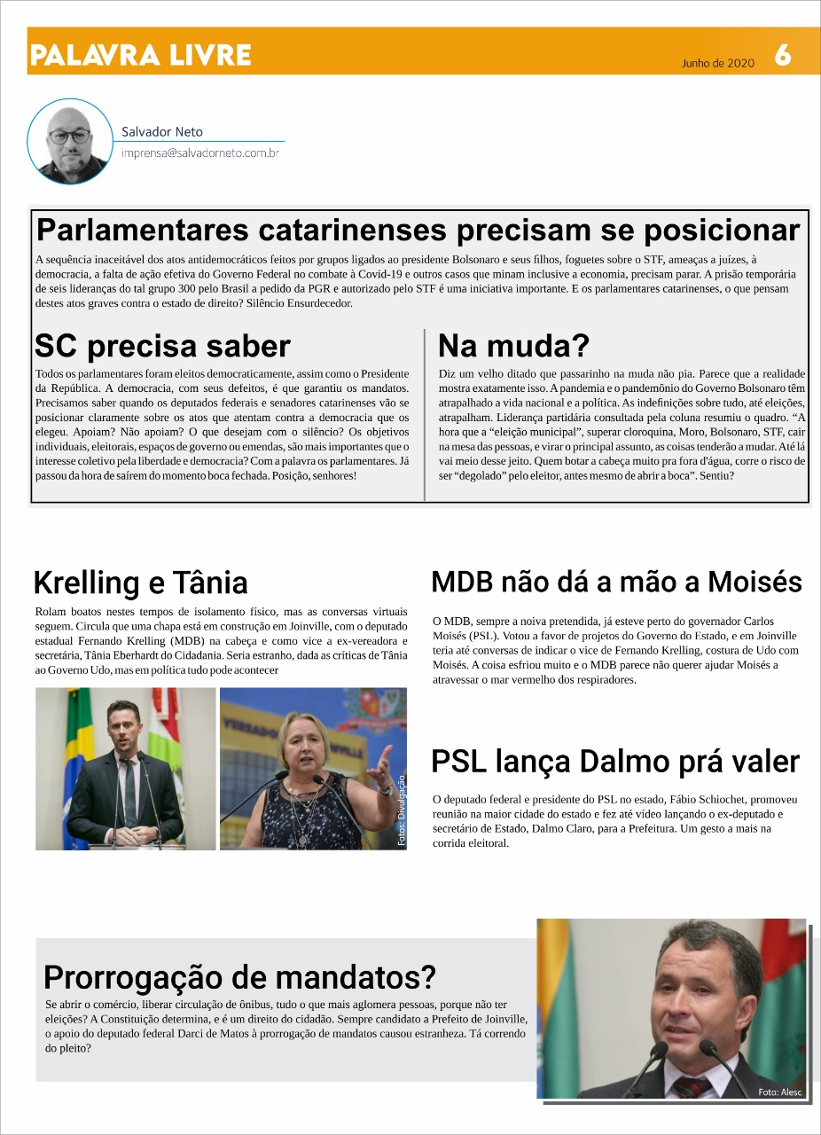 Coluna Palavra Livre de junho para a Folha Metropolitana, leia