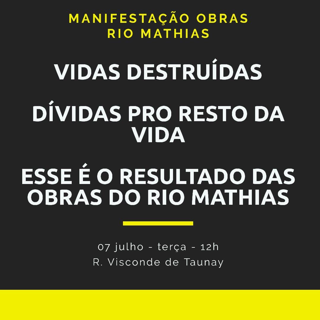 Obras infindáveis do Rio Mathias mobilizam manifestação em Joinville (SC) nesta terça-feira (7)
