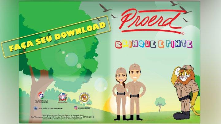 PM/SC disponibiliza livro de colorir com base no trabalho do Proerd
